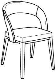 V-Cube Stuhl Typ SEGP26 Bezug: Leder