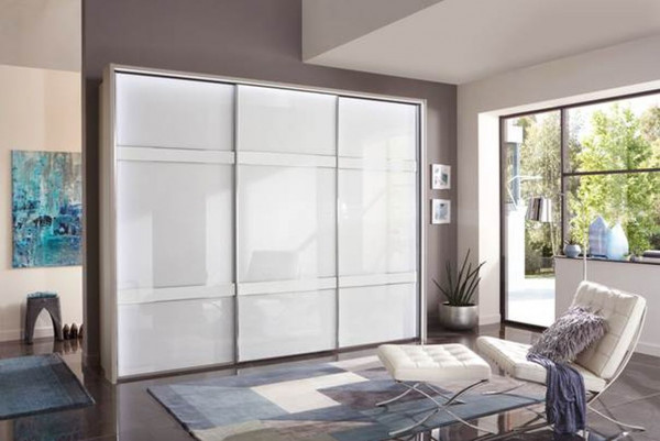 Schwebetürenschrank Rialto Front: Glas- weiß